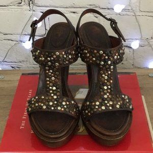 Frye Studded Brown Leather Platform Heels Size 8